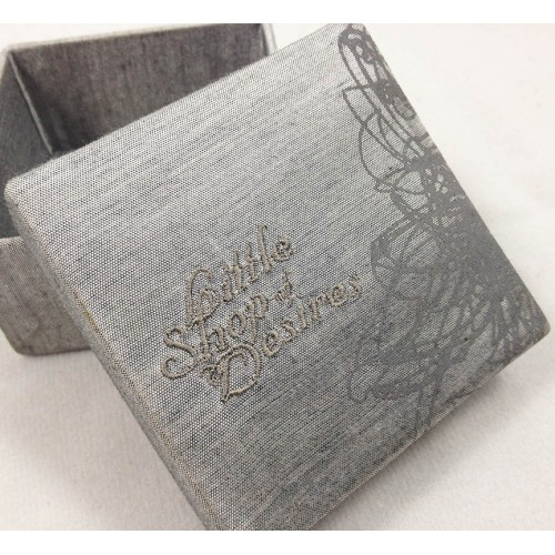 Embroidered silk packaging box in gray