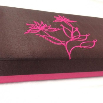 Modern lotus embroidery on silk box