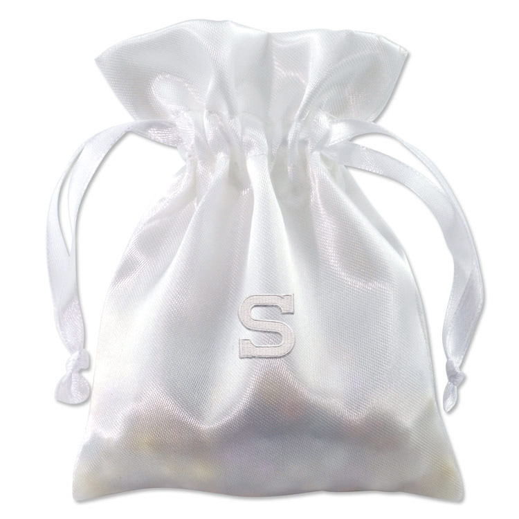 Embroidered white satin drawstring bag