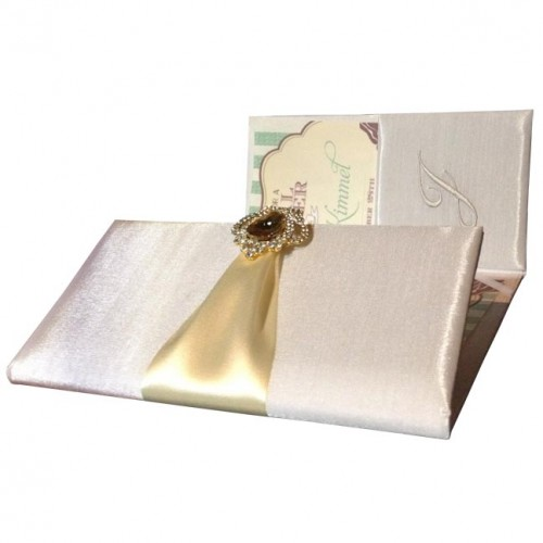 Luxury ivory folio invitations