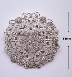 Silver flower crystal brooch for wholesale