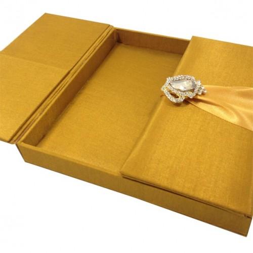 Gold embellished silk wedding invitation box luxury wedding luxury golden silk box stopboris Image collections