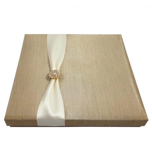 LUXURIOUS EMBELLISHED SQUARE SILK BOX WEDDING INVITATION