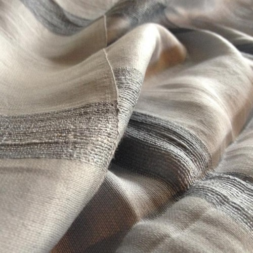 hand-woven gray Thai raw silk shawl