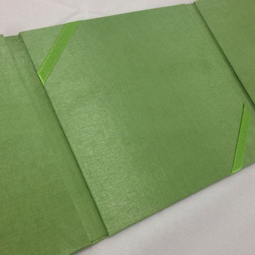 Green silk folio for wedding invitations