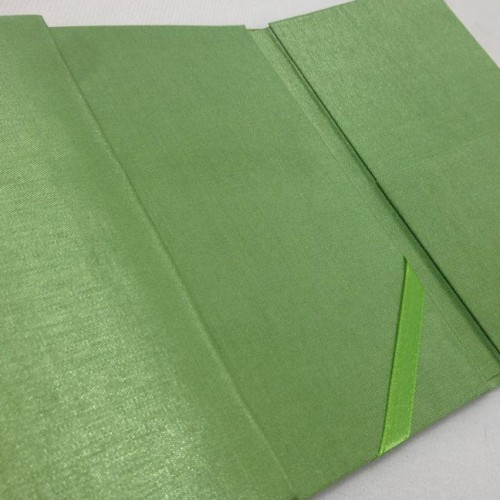 Inside view of pocket of our green silk folio