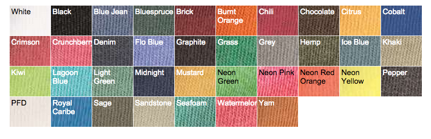 Hemp Fabrics Color Chart