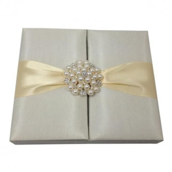 Wedding invitation box in ivory with pearl brooch embellishment