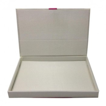 Opened silk invitation box, covered with ivory faux silk