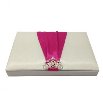 Pearl crown brooch embellished silk box for wedding invitation cards