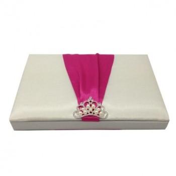 Pearl crown brooch embellished silk box for wedding invitation cards