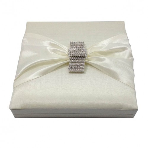 luxury ivory invitation box with rhinestone brooch