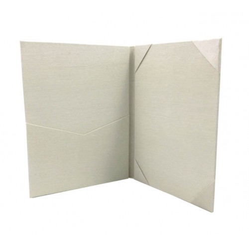 Picture of pocket and silk corners of a ivory wedding folio