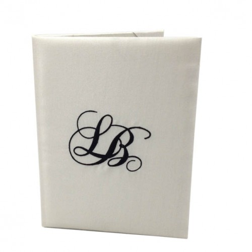Monogram embroidered silk folio
