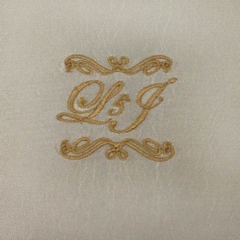 L and J monogram embroidery on taffeta silk