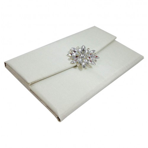 star brooch embellished ivory silk covered luxury wedding With silk envelope wedding invitations