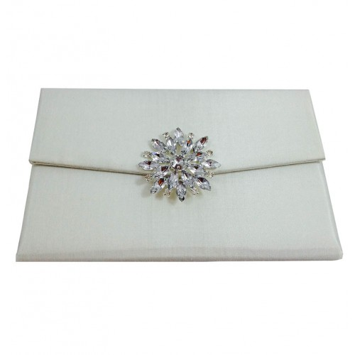 embellished wedding ivory product silk envelopes star brooch luxury covered invitation envelope