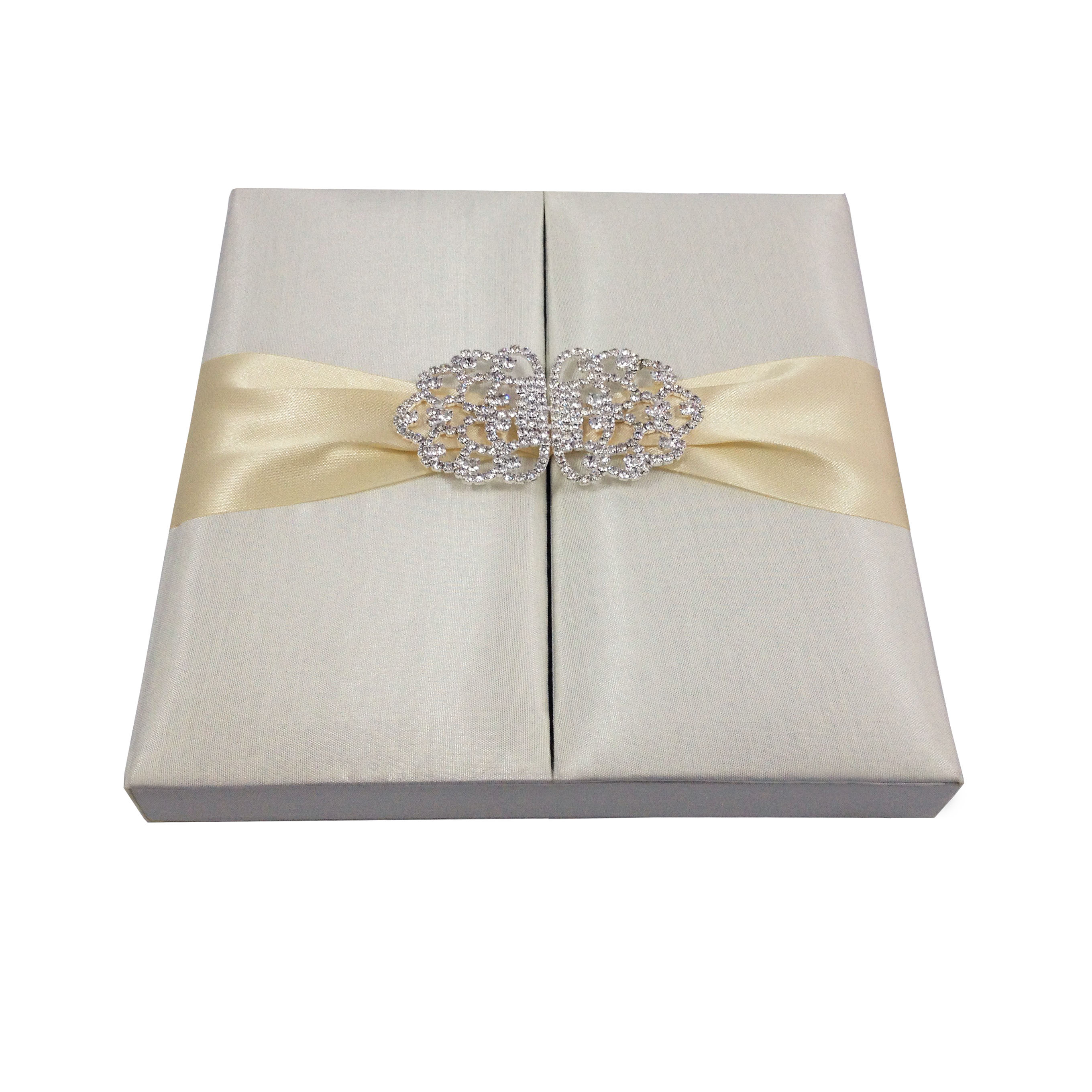 ivory invitation box for wedding cards with crystal clasp