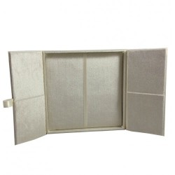 Velvet gatefold invitation box in ivory