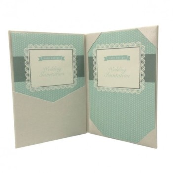 Inside view of plain ivory silk folio invitations