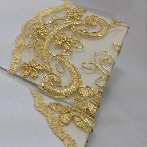 Picture of a lace pocket on the right side of a silk folio for wedding invitations