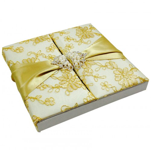 Side view of gatefold style lace covered wedding invitation box featuring silk