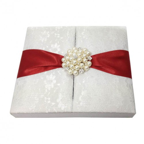 White Lace Covered Silk Wedding Invitation Box With Large