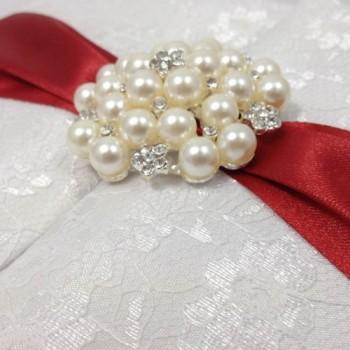 Luxury embellished lace invitation box
