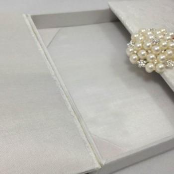 Embellished white silk box