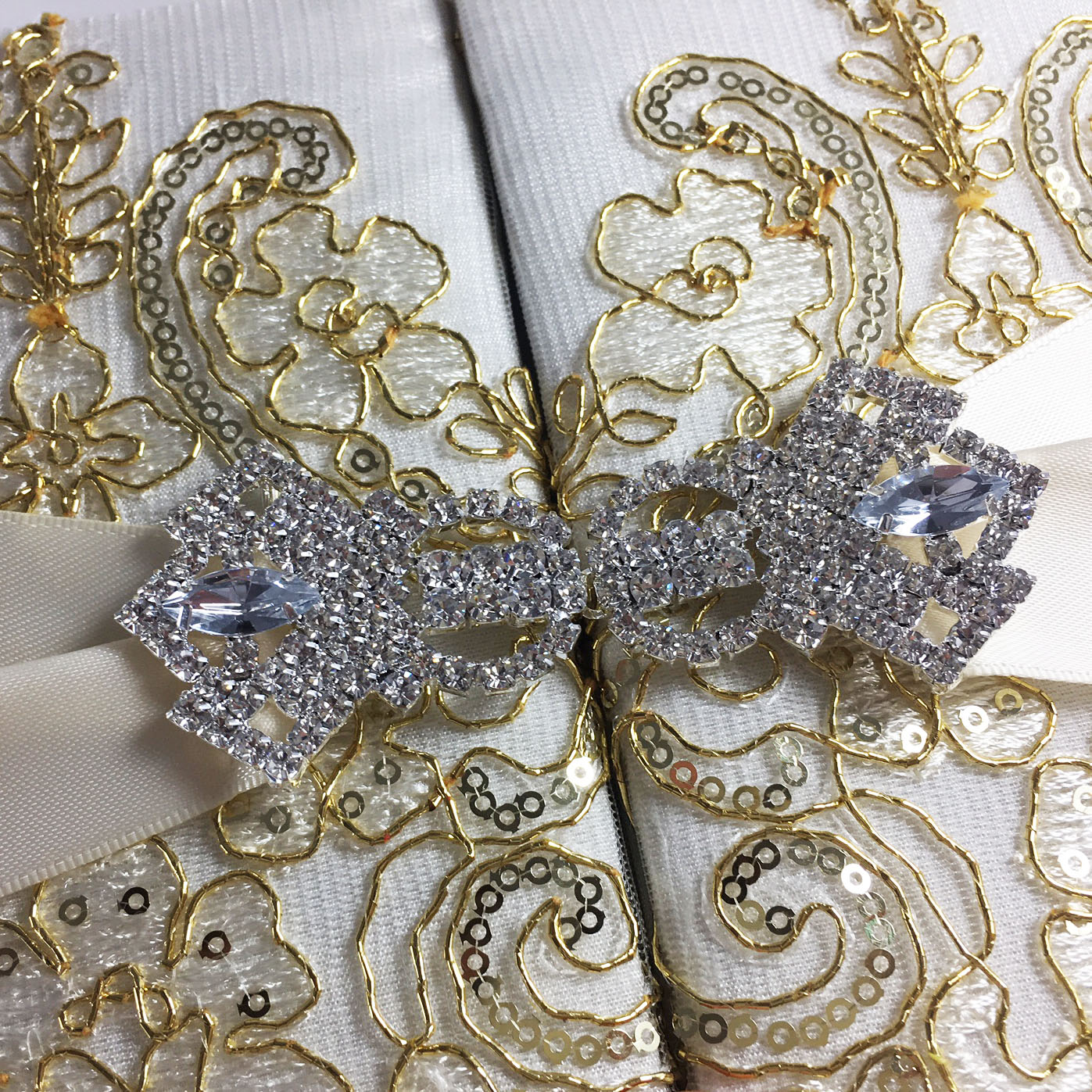 Wedding Invitations With Lace: TWO DOOR POCKET FOLD INVITATION WITH DOORS AND BOW