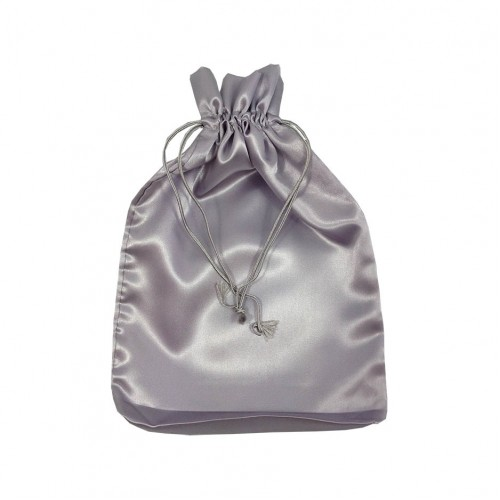 Large silver satin drawstring bag