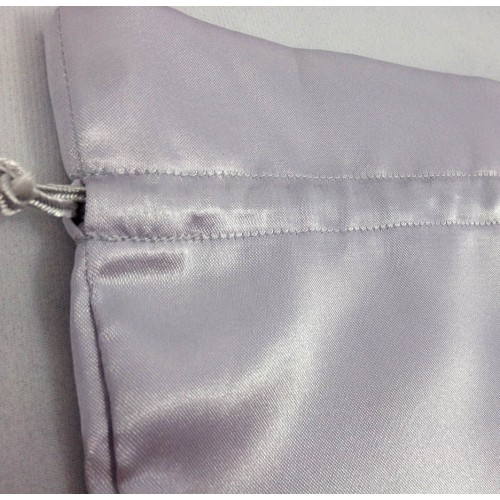 LARGE SILVER COLOR SATIN DRAWSTRING BAG WITH CORD