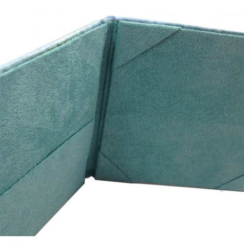 Silk and suede wedding folder with pockets in light blue and turquoise color combination