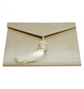 Light gold silk envelope, embellished with large ivory tassel and gold plated pearl brooch