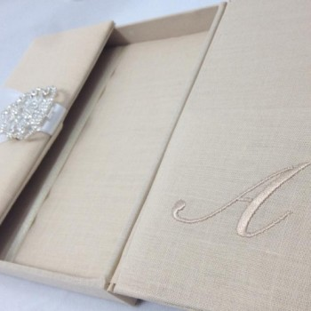 Luxury linen wedding invitation box