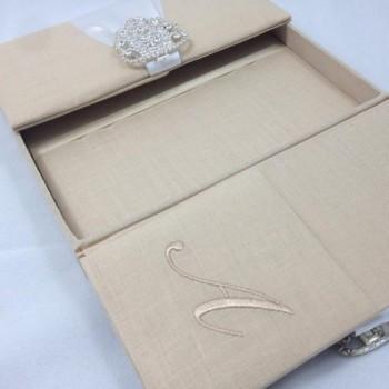 Linen invitation boxes