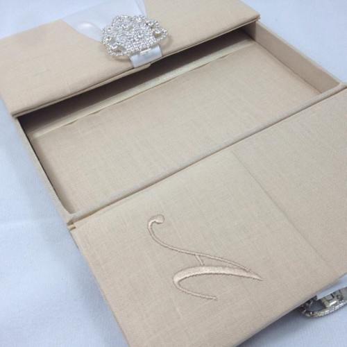 linen covered wedding invitation box featuring crystal clasp, invitation samples