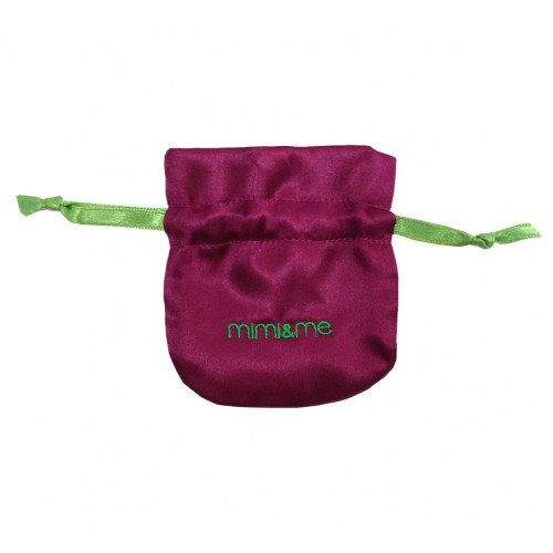 Small logo embroidered satin drawstring bags