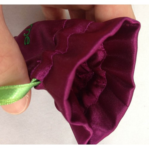 Inside view of satin jewellery pouch