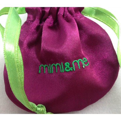 Logo embroidered satin drawstring bag