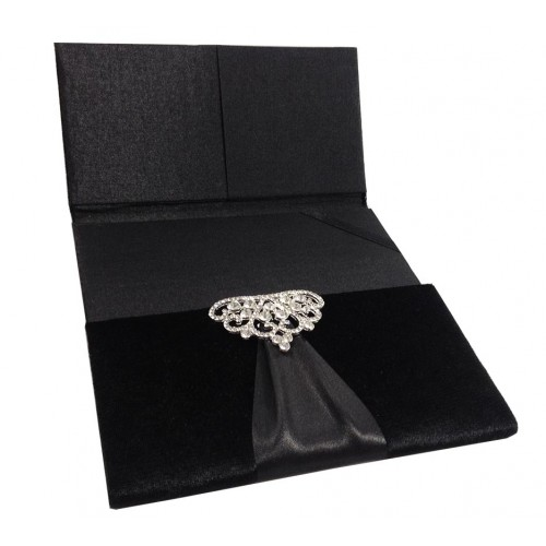 Opened black velvet folio invitation