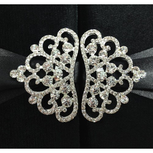 Silver rhinestone crown brooches