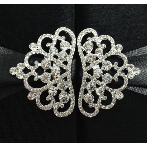 Silver rhinestone crown brooches
