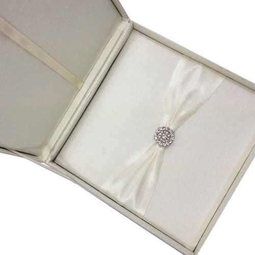 Boxed invitation with luxury diamond brooch