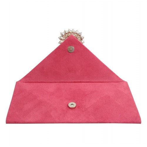 Opened view of suede envelope