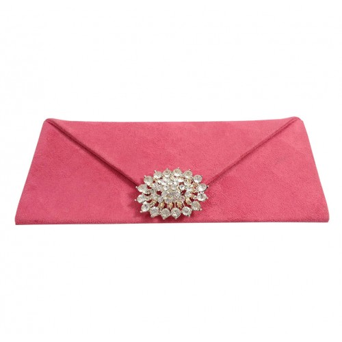 dusty pink suede invitation clutch envelope bag with large crystal