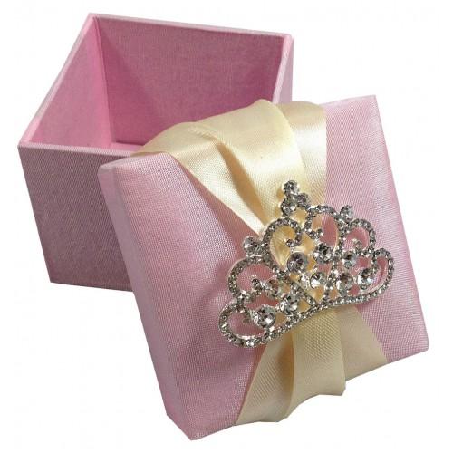 LUXURY WEDDING FAVOUR BOX WITH LARGE CROWN RHINESTONE BROOCH