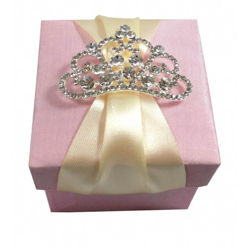 Luxury Wedding Favour Box With Large Crown Rhinestone Brooch
