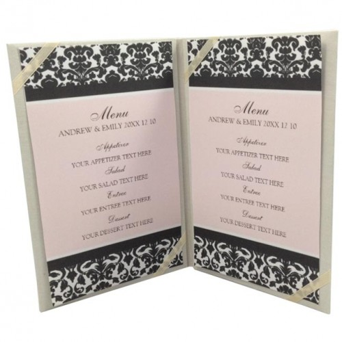 Ivory silk menu card holder with ribbon holder on the inside