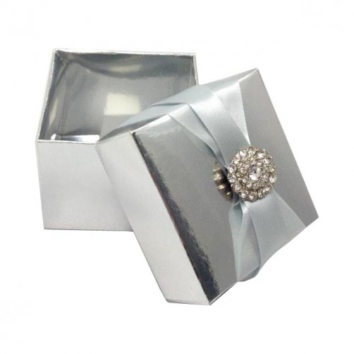 metallic silver favour box